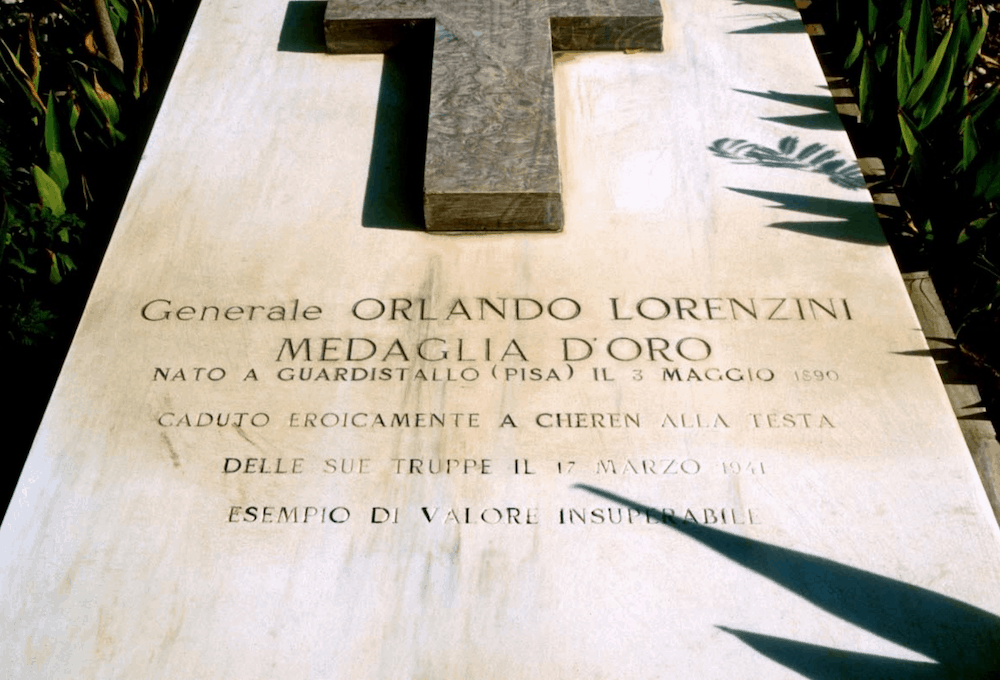 The grave of Brigadier General Orlando Lorenzini located at the military cemetery in Keren. Lorenzini was killed on 17 March 1941 in the Battle of Keren. Image: Nicky Di. Paolo.