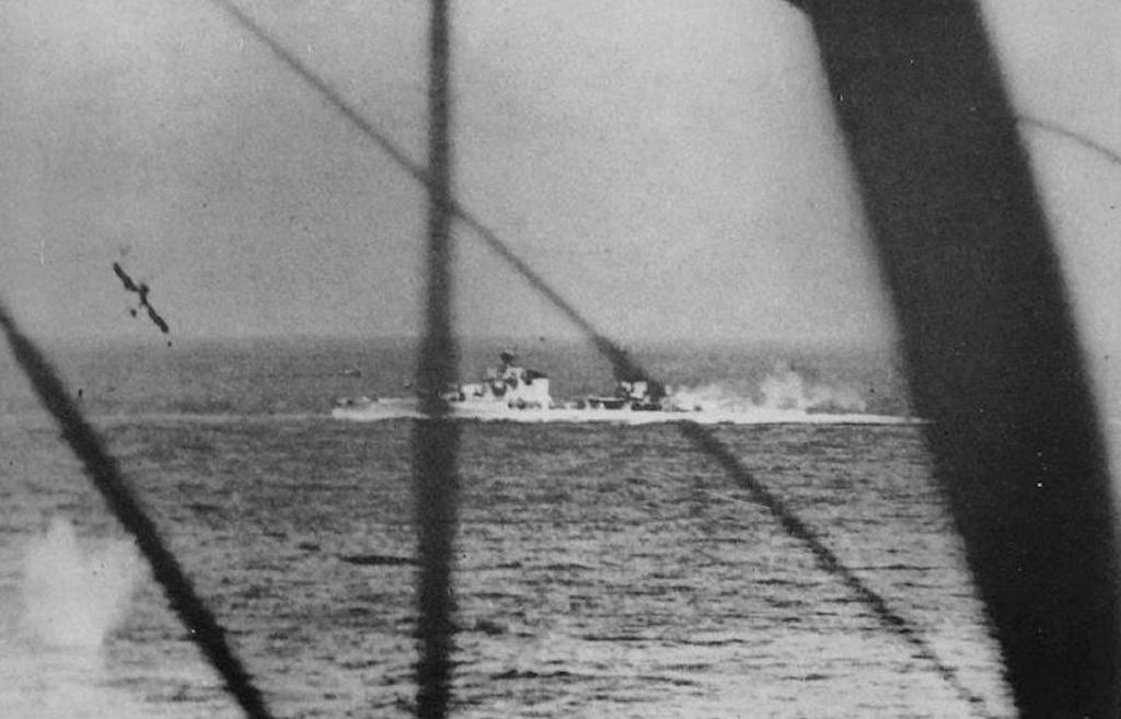 A photo of the Bolzano being attacked by Swordfish at the Battle of Cape Matapan. This image was taken from a second Swordfish that just dropped a torpedo at the bottom left of the image.