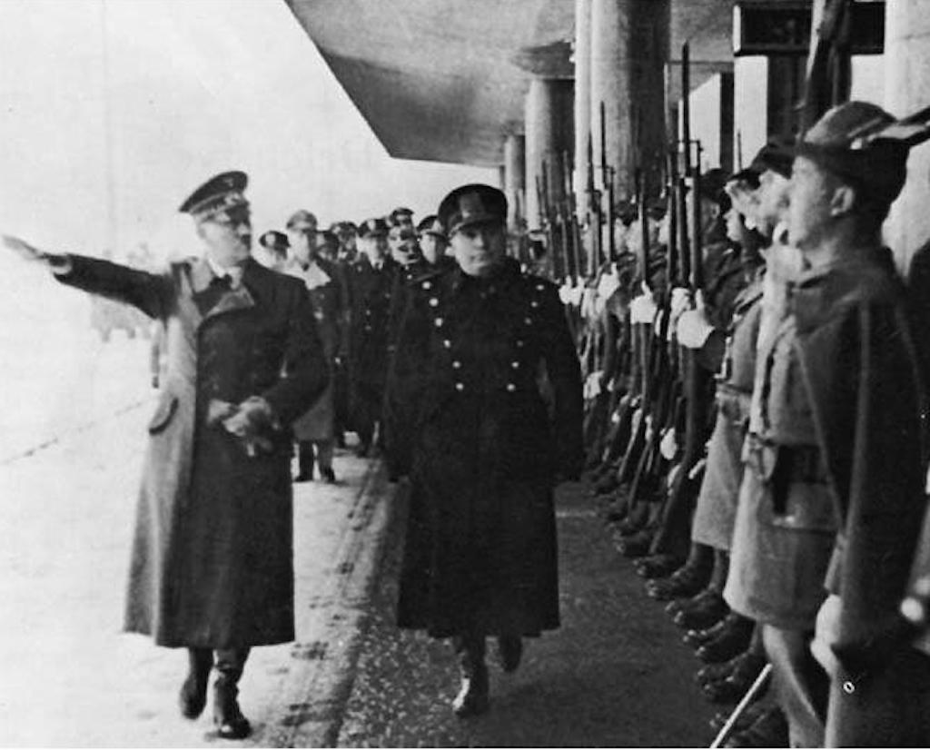Hitler and Mussolini meet at the Brenner Pass on 18 March 1940.