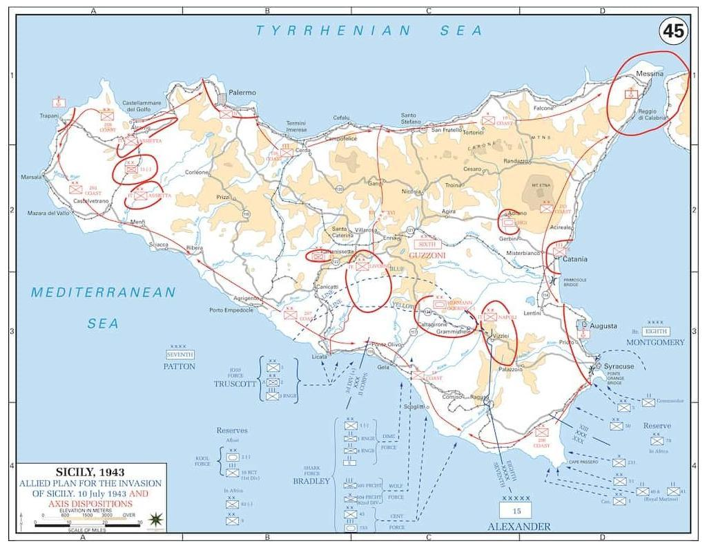 Disposition of Axis forces in Sicily, July 1943. Image: United States Military Academy Department of History.