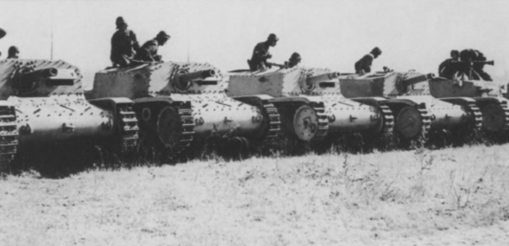 A battery of Semovente da 75/18 ready for inspection.