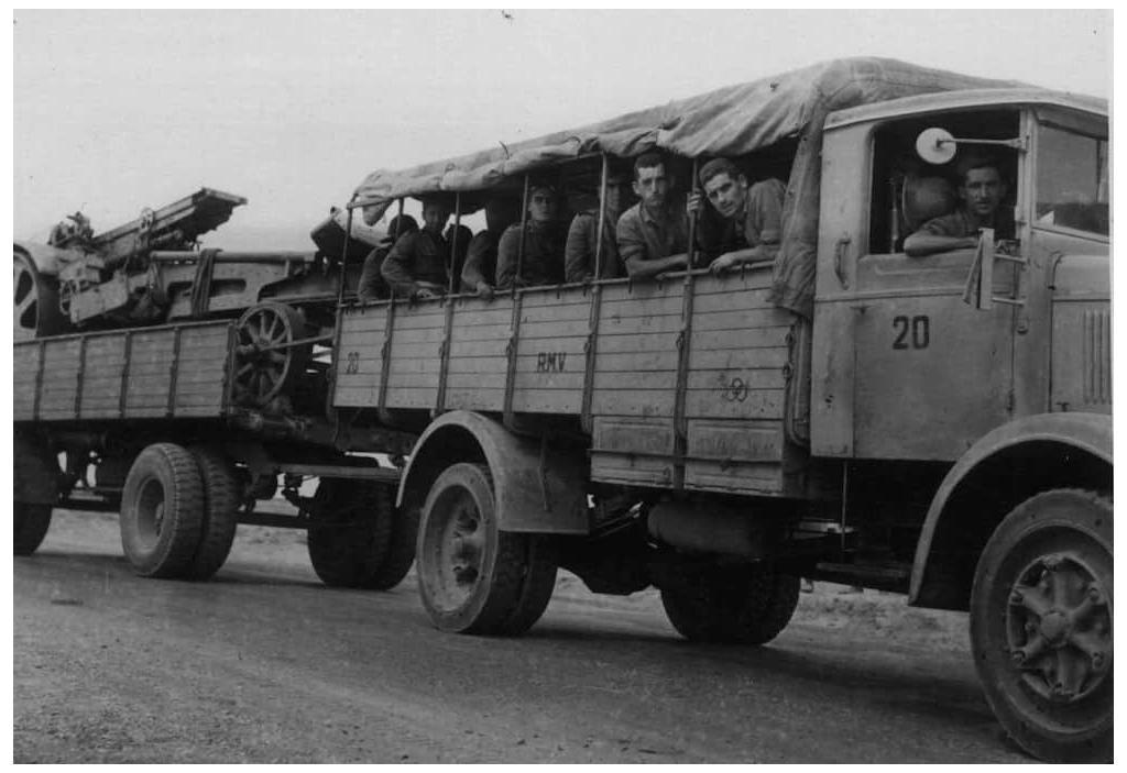 An Italian military convoy on its way to Tobruk, Libya in 1941.