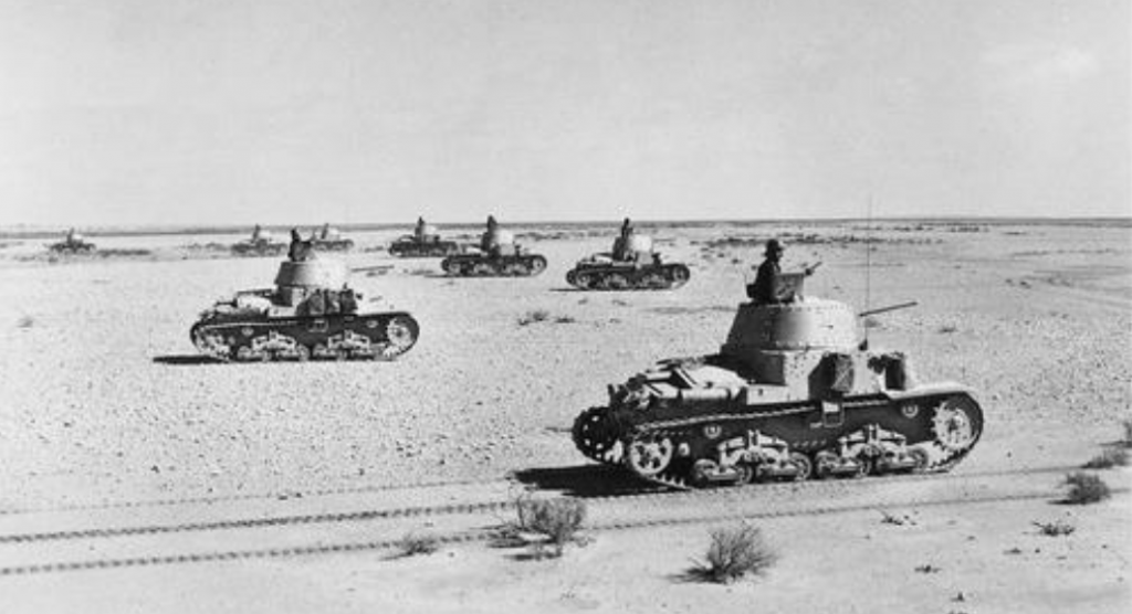 Italian Fiat M13/40 tanks in formation.