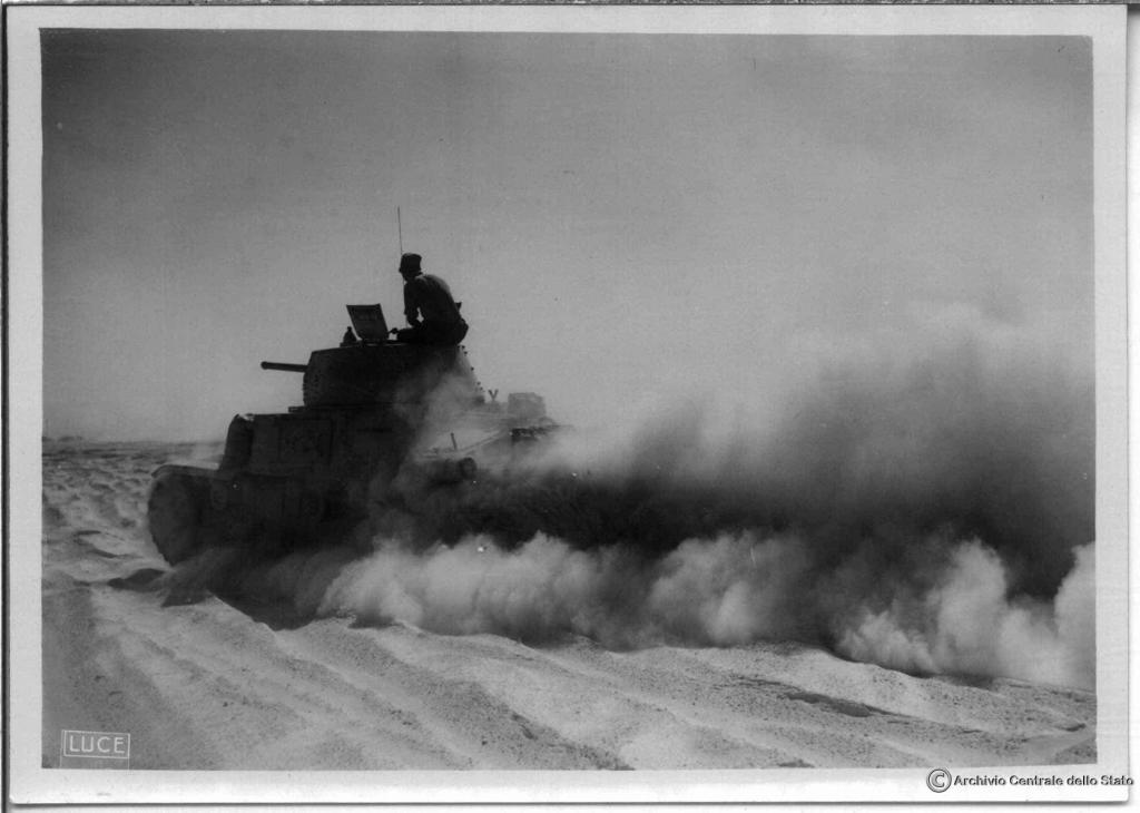 Italian tank at full speed near Gazala.