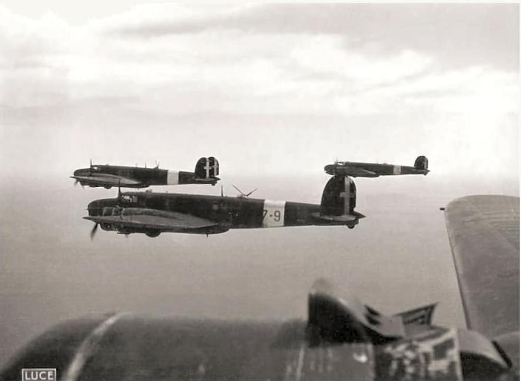 Fiat Br.20 Cicogna bombers in flight.