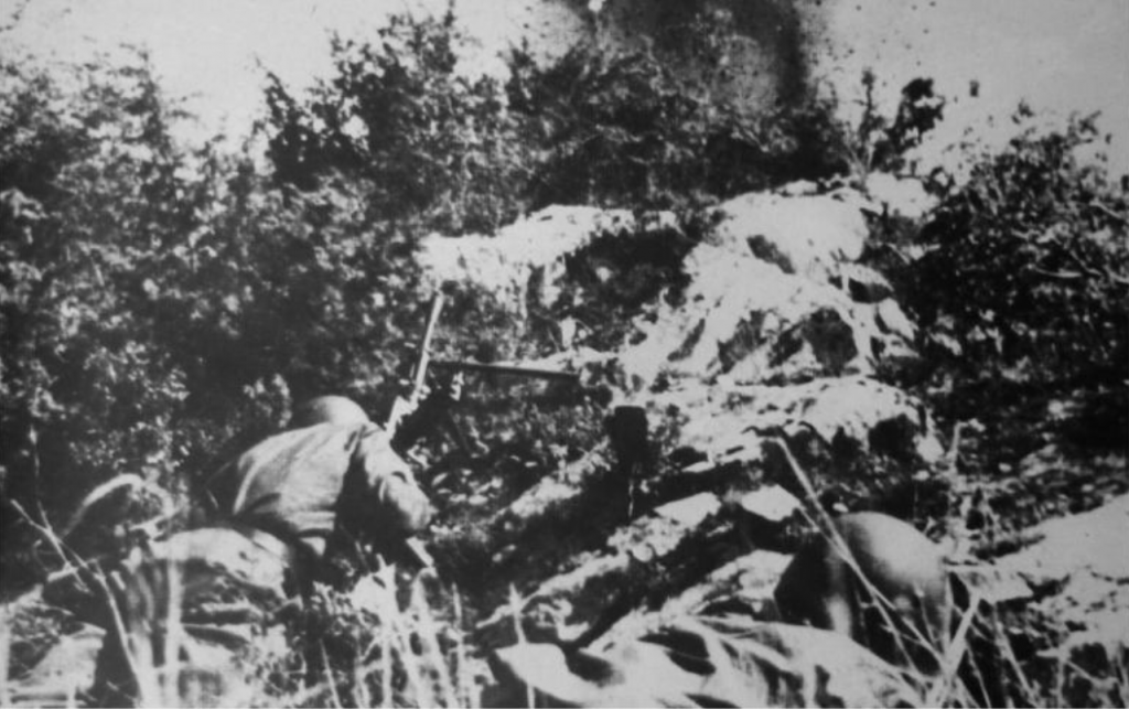 Italian soldiers on the receiving end of U.S. naval gunfire near Gela.