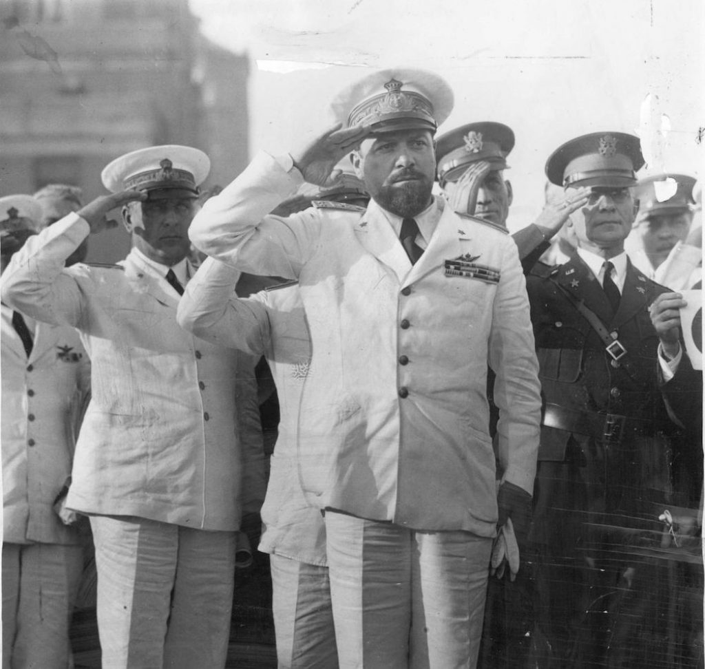 Italo Balbo and his fellow aviators make a salute at the Chicago Century of Progress fair.
