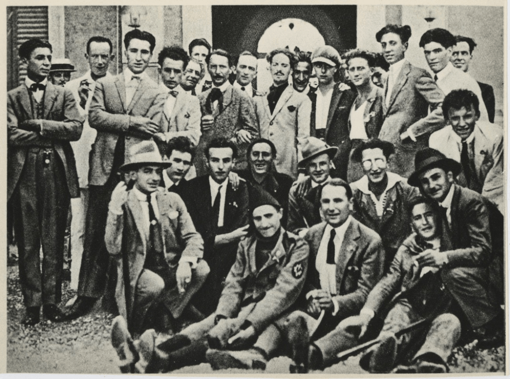 Italo Balbo (top center) with his group of Squadristi in 1921.