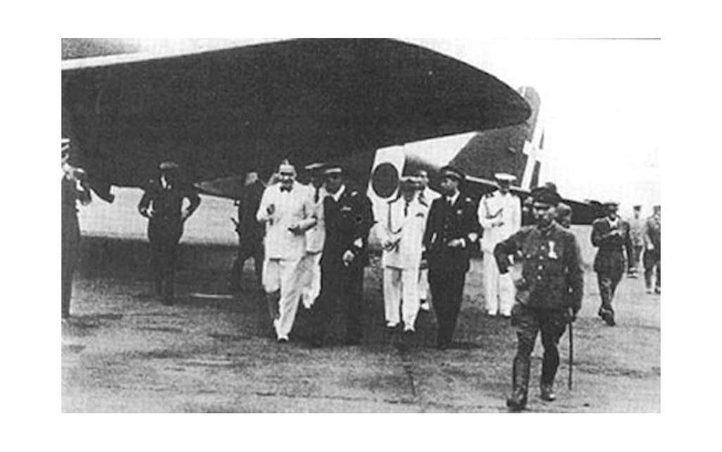The SM.75 lands in Tokyo. Note the Japanese markings on the aircraft.