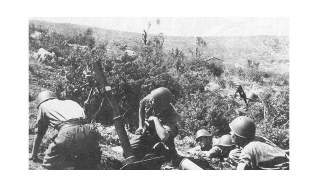 Italian mortar action against American forces at Gela.
