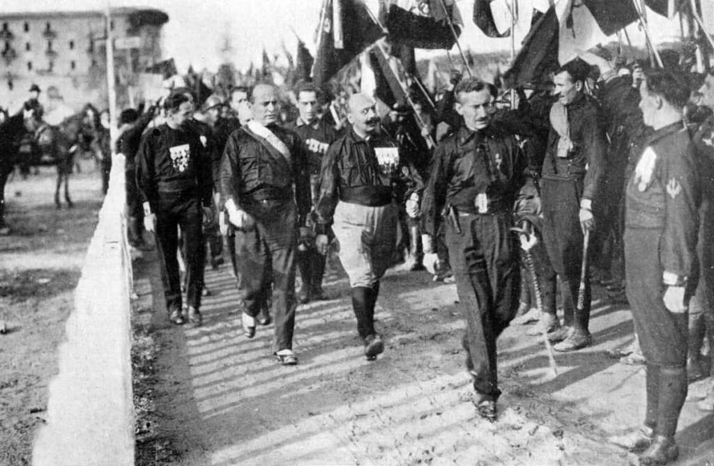 Mussolini surrounded by Blackshirts on the March to Rome in 1922.