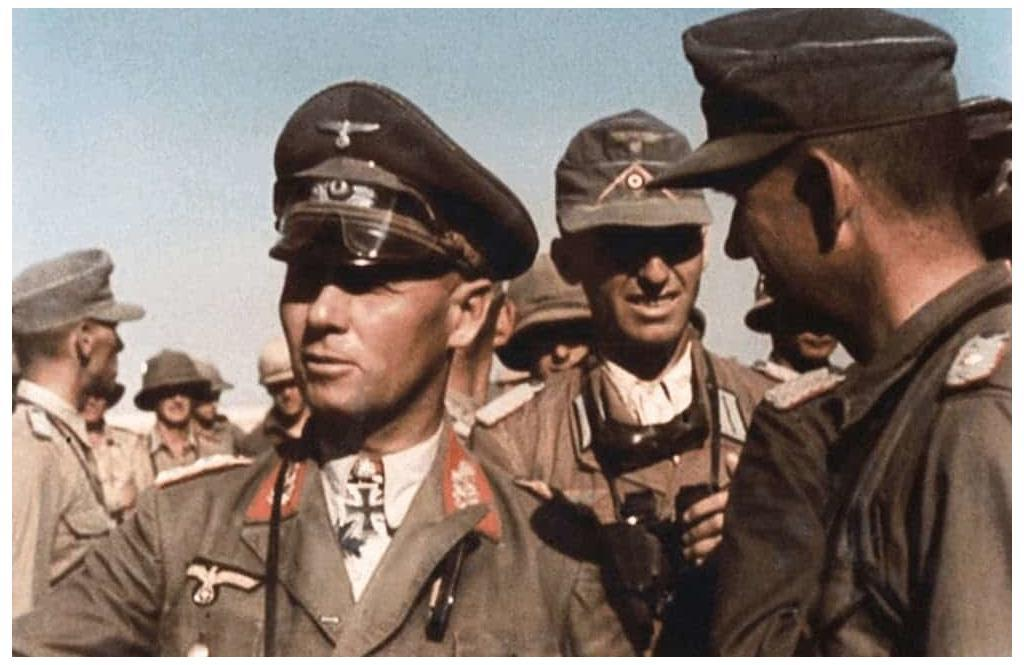 A color photograph of Erwin Rommel and his staff in North Africa.