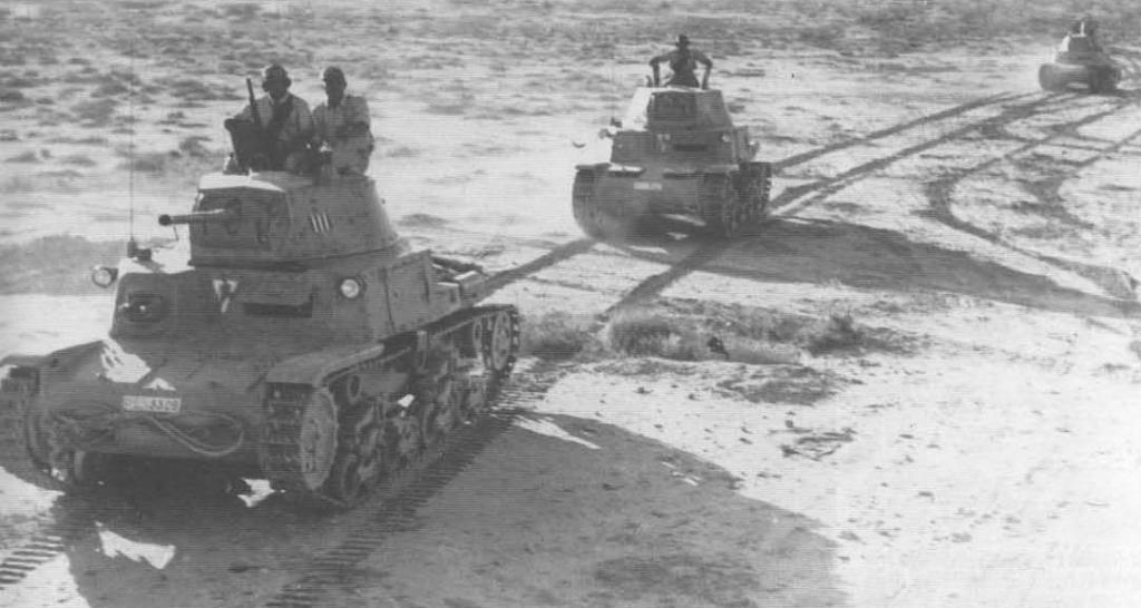 Littorio advance towards El Alamein in M13/40 medium tanks.