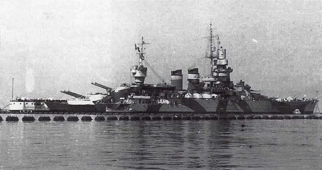 Battleship Andrea Dorea in the port of Taranto during the summer of 1942.