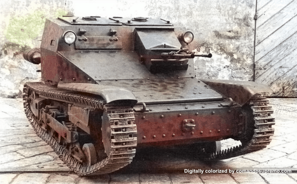 A digitally colorized image of a Carro Veloce CV 33 also known as the L3/33 tankette.