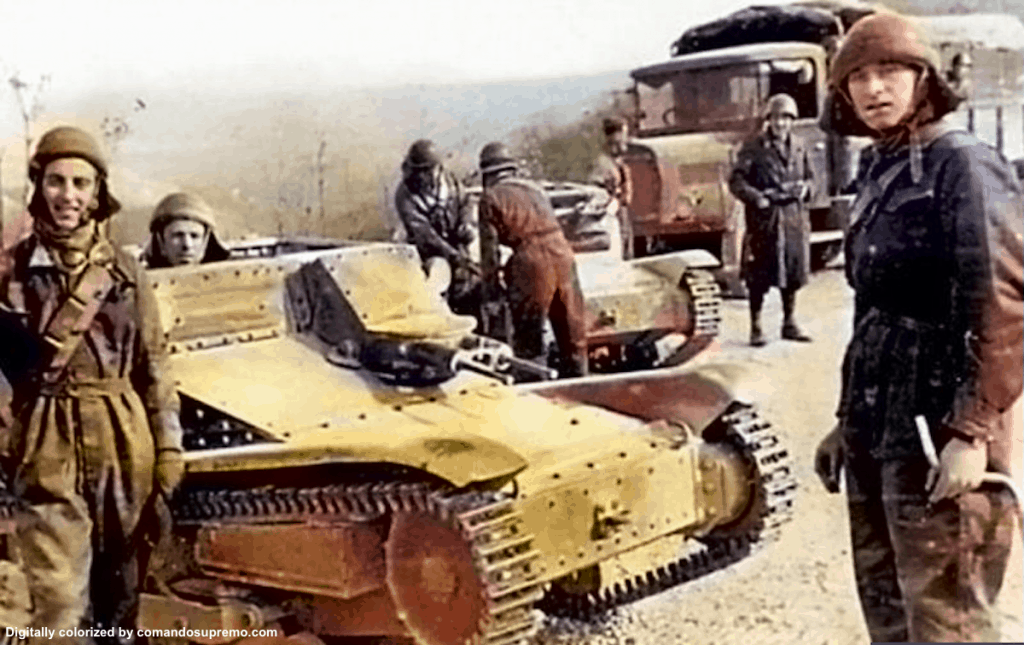 A digitally colorized image of the Carro Veloce CV 35 also known as the L3/35 tankette in the Balkans.