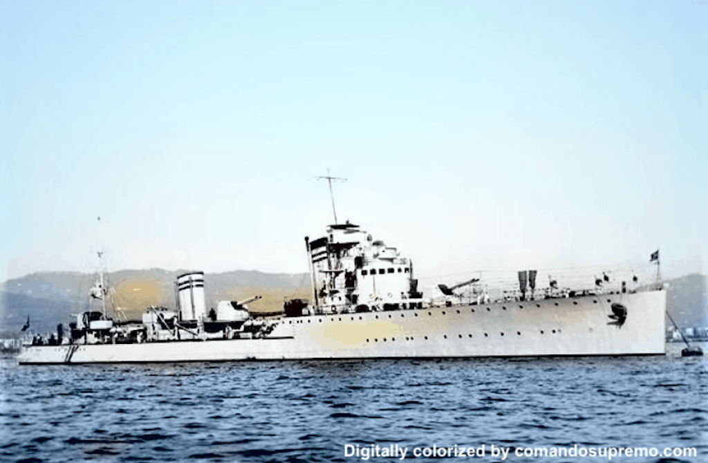 A digitally colorized image of Nicolo Zeno in 1940. Fate of Regia Marina.