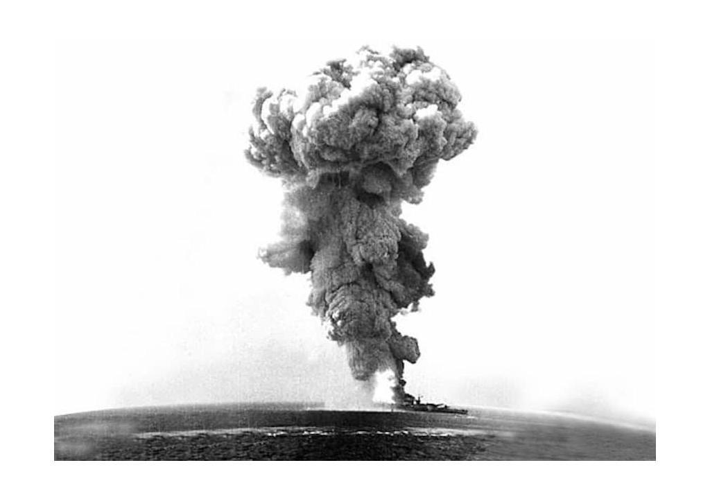 An image from a viewfinder showing the explosion on the Littorio Class Battleship Roma. Image Credit: difesa.it.