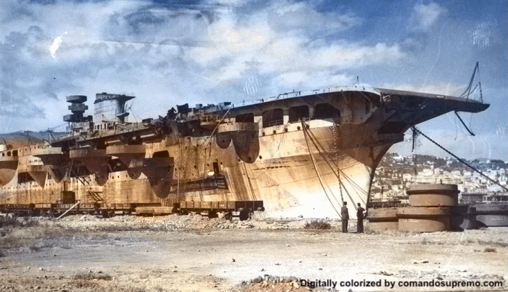 Aquila aircraft carrier under construction. Image digitally colorized.