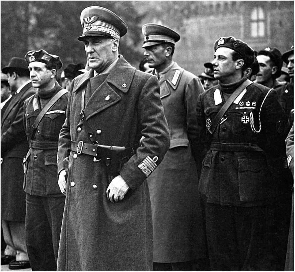 Marshal Rodolfo Graziani in Milan with the Black Prince to his left.