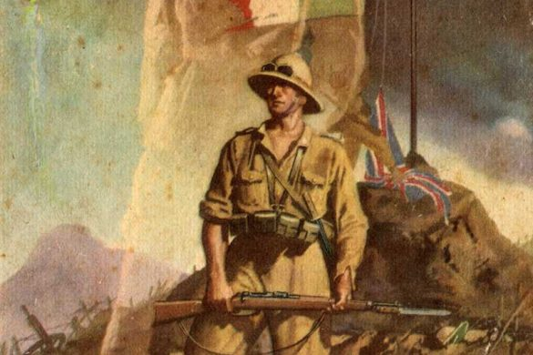 """This is a famous Gino Boccasile postcard which debuted in 1942. This postcard was issued following the Commonwealth takeover of Italian East Africa. The image shows an Italian soldier standing over dead British soldiers. The Union Jack has been lowered and the Italian Royal Flag is flying. The spirit of Duke of Aosta stands behind him. The caption """"Ritorneremo"""" means """"We Will Return."""""""