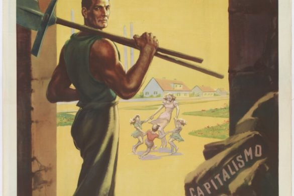 """A 1943-1945 Repubblica Sociale Italiana poster showing a miner. The rocks in the mine read Capitalism and Judaism. The words """"La Nuova Europa Per I Lavoratori"""" translates to """"A New Europe for the Workers."""" In the background, a woman can be seen happily playing with three children."""