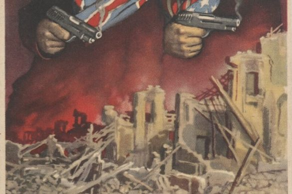 """A Gino Boccasile illustration dating from 1942-1945 showing Winston Churchill and Franklin Delano Roosevelt holding two pistols with a pirate flag behind them. Below them is a bombed city with dead children on the street. The caption reads """"They are to blame."""""""