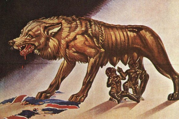 """Italian propaganda poster depicting a wolf shredding a Union Jack with Romulus and Remus. Translation reads """"For the victory, the arms, and the defense of the Lira."""""""
