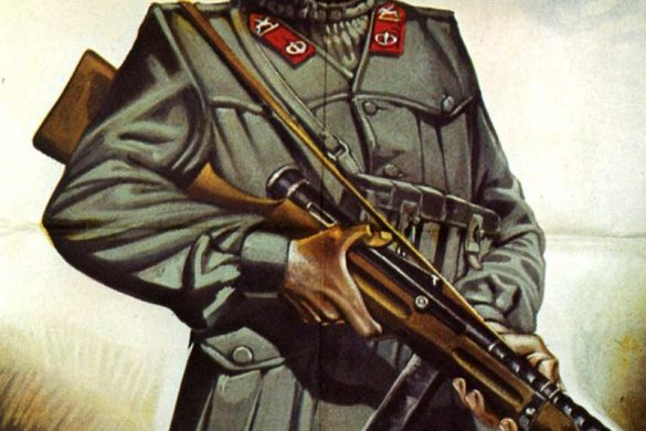 """Italian propaganda poster depicting a soldier with a machinegun. The words Buon Sangue Non Mente"""" roughly translates to """"The apple doesnt fall to far from the tree."""" This poster is designed to tell the viewer that Italians are a good fighting stock."""