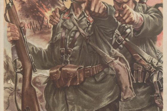"""A Giulio Bertoletti illustration, published between 1943-1945 for the RSI showing two soldiers pointing at the viewer. The caption reads """"and you...what are you doing?"""" The purpose is obviously to instill guilt into the viewer to join the war effort."""