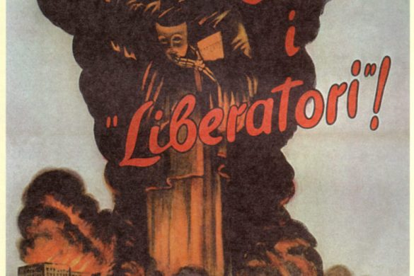 """Ecco i Liberatori is a post-1942 Italian propaganda poster depicting the Statue of Liberty removing her mask and showing a deathly face. The text reads """"These are the liberators!"""" Once again, a poster shows a Red Cross building in flames."""