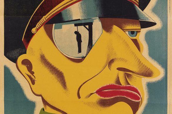 """Originally an American poster created in 1942, this poster reads """"Here is the enemy."""" This poster was designed by Karl Koehler and Victor Ancona, which won first prize at the Artists for Victory competition held in 1942. This great poster depicts a typical Prussian officer with a reflection of a man hanging from his spectacle."""