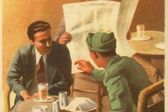 """Another OPSEC poster. Two men, one being a soldier, are having a discussion at a cafe. Next to them is a man listening while pretending to read the paper. The words """"Il Nemico Vi Ascolta"""" means """"The Enemy is Listening."""""""