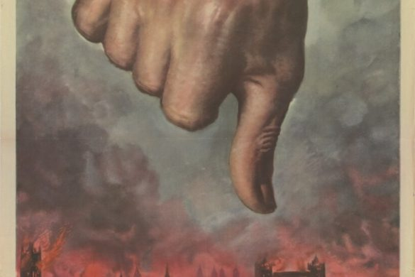"""A Gino Boccasile illustration showing London burning with a Thumbs Down"""" over the city."""