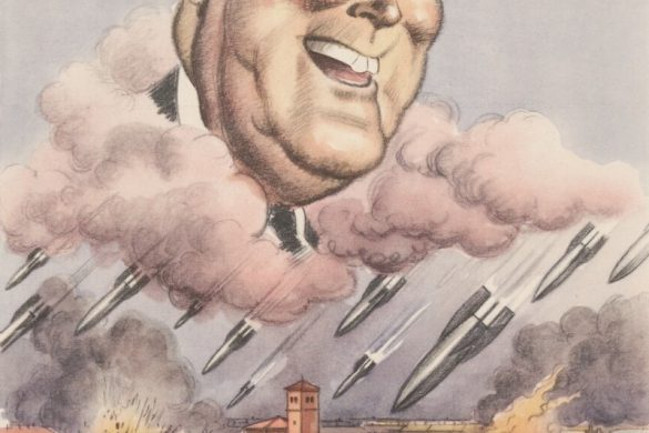 """An Italian WW2 poster showing FDR in the clouds as bombs rain down on an Italian city. Some bombs appear to hit a Red Cross building and church. The caption reads """"..a smile is enough to show my virtues..."""""""