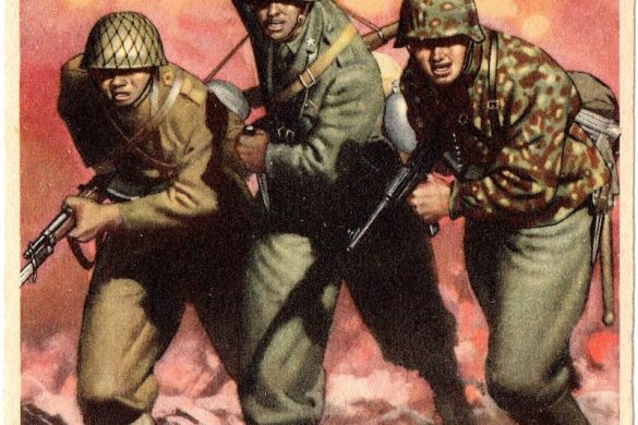 """Italian propaganda poster depicting a Japanese, Italian and German soldier attacking. The translation reads """"Victory. For the new social order, for civilization."""""""