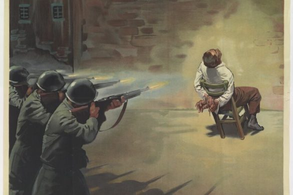 """A 1944 Repubblica Sociale Italiana (RSI) illustration by Boccasile showing a man tied to chair being executed by a firing squad. The caption """"ad ogni traditore ad ogni sabotatore"""" translates to """"for every traitor, for every saboteur."""""""