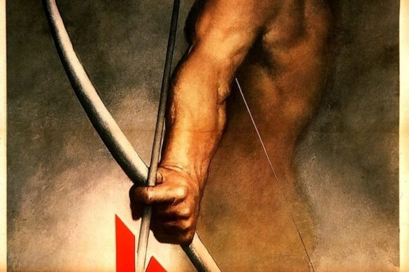 """Italian propaganda poster created by Gino Boccasile in 1943 which reads """"Hold on!"""" The hour when vengeance will be unleashed on the anti-European forces is at hand"""". The arrowhead, shaped like a V, also represents the Victory sign."""