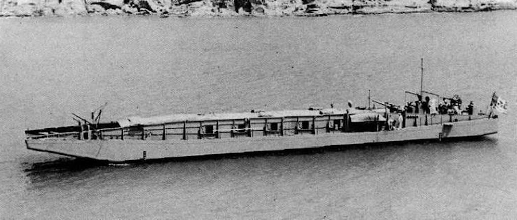 Image of Italian landing craft MZ 701 taken on 30 May 1942. These landing crafts would transport infantry to the shores of Malta.