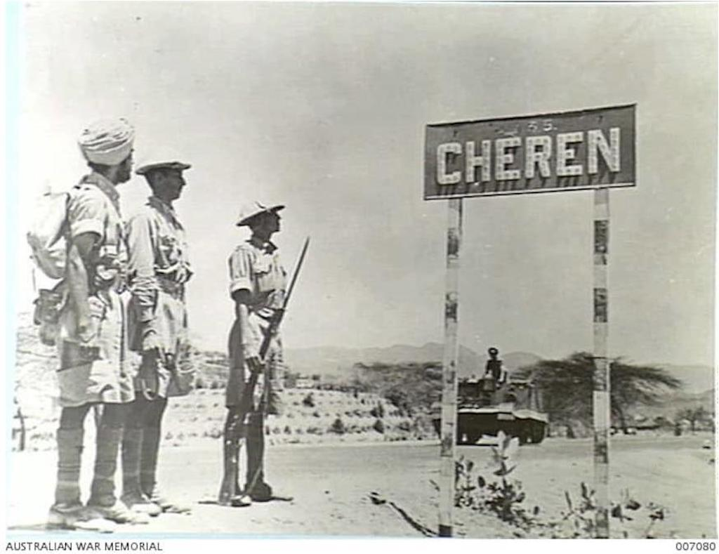 Keren was known as Cheren to Italians. Here is a signpost on the road with the Indian Army.