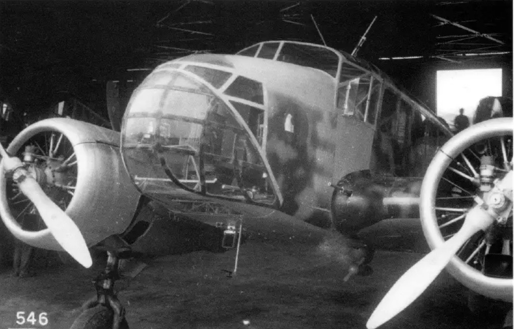 The nose section of the Caproni Ca.311M variant. Notice the 7.7mm gun on the left wing.