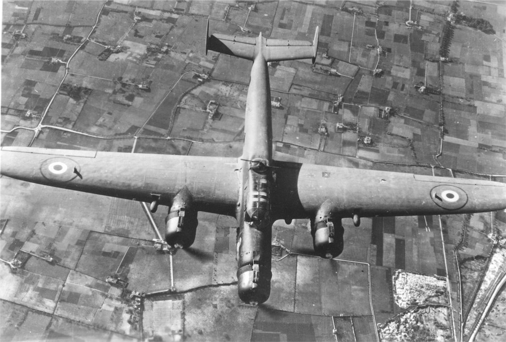 A CANT Z.1007bis bomber with the Italian Co-Belligerent Air Force over Southern Italy in late 1944.