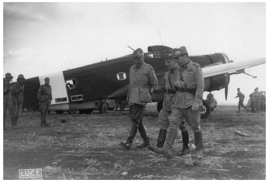 Left to right, Generals Curio Barbasetti di Prun, Ugo Cavallero and Ettore Bastico in Libya, 1942.