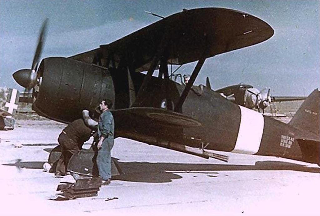 A Fiat CR 42 on the flight line in 1941.