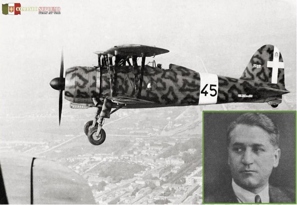 A Fiat CR.42 Falco in flight. Designer Celestino Rosatelli pictured in the insert.