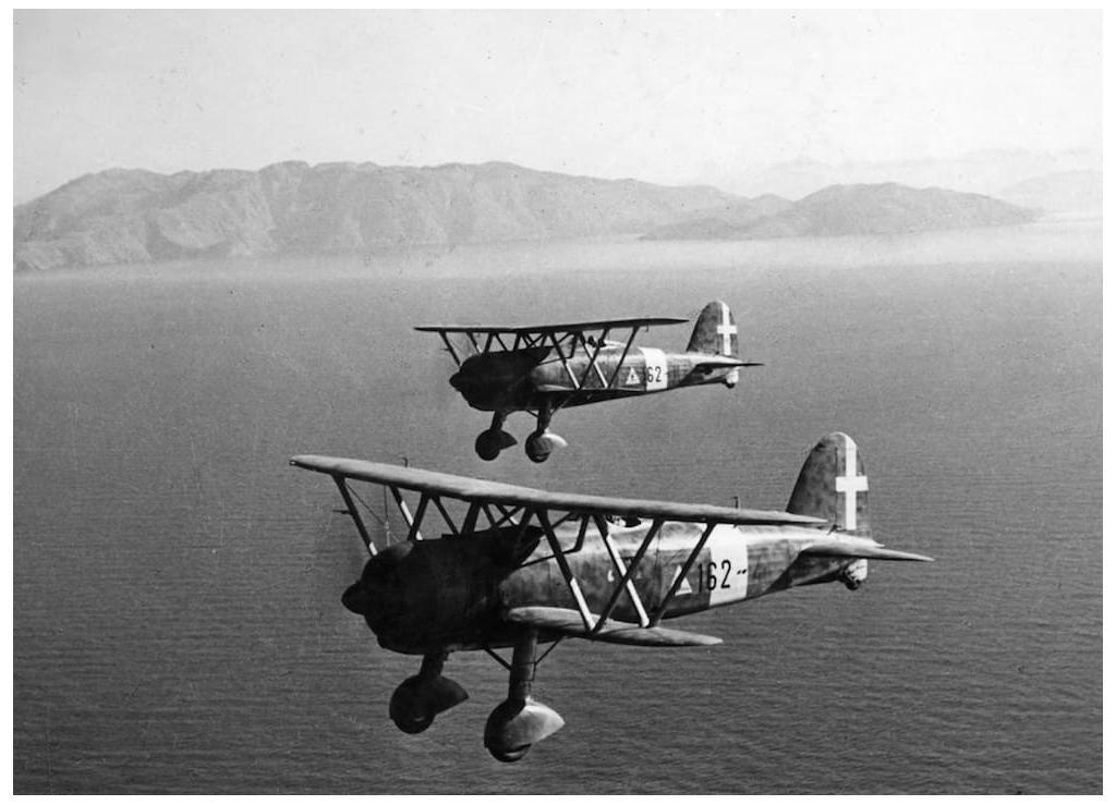 Two Fiat CR42 of the 162nd Squadron over the Aegean in 1940.