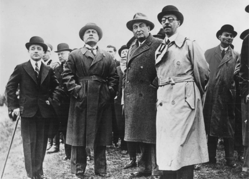 A 17 March 1934 photo of Engelbert Dollfuss, Benito Mussolini, and Gyula Gömbös.