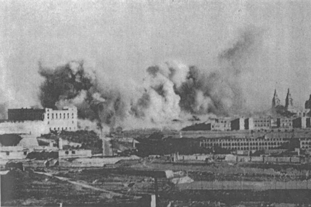 Malta as it is being bombed on 24 April 1942.