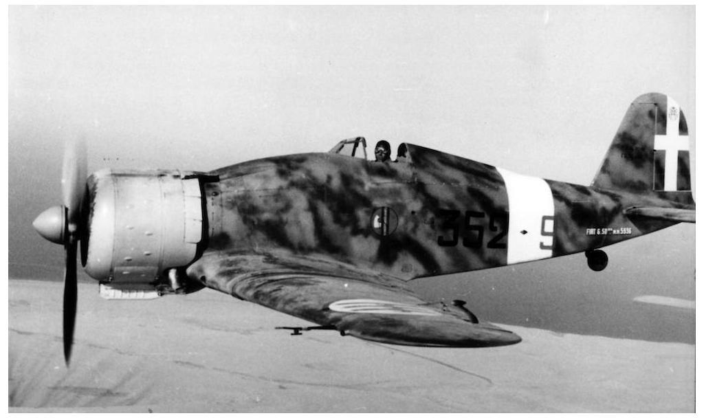 A Fiat G.50 Freccia over the skies of Libya.