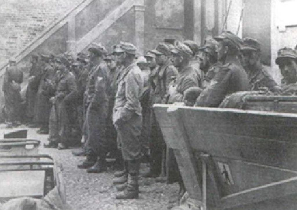Captured German prisoners at Lambertini Castle during Operation Herring.